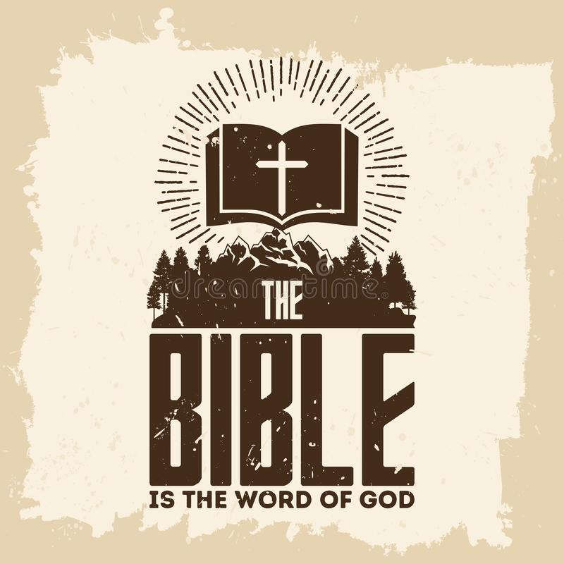 Free Bible Lettering. Christian Art. The Bible Is The Word Of God Stock Photography - 122613742