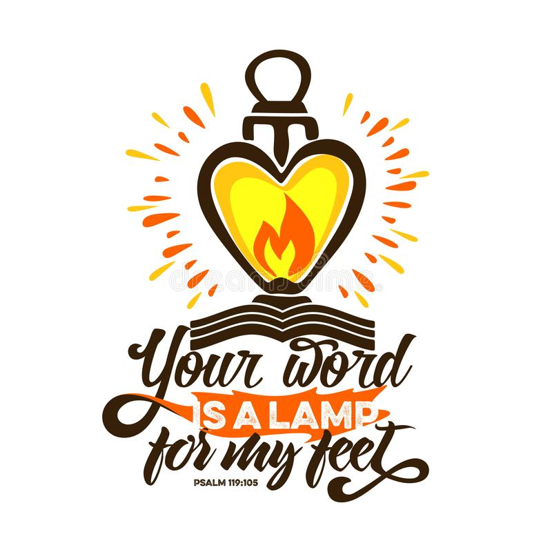 Free Bible Lettering. Christian Art. Your Word Is A Lamp For My Feet Royalty Free Stock Images - 122594719