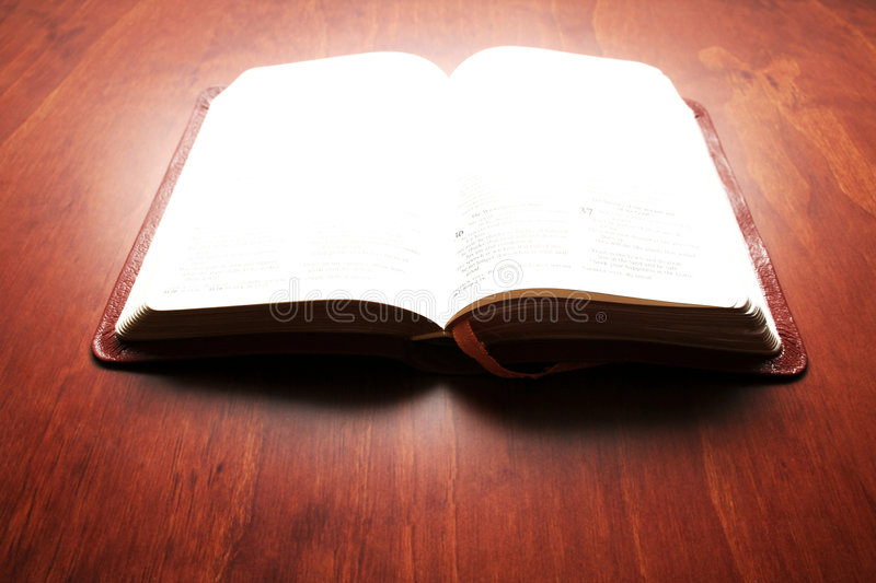 Download Bible Lit Up stock image. Image of rays, cover, open, shine - 645069