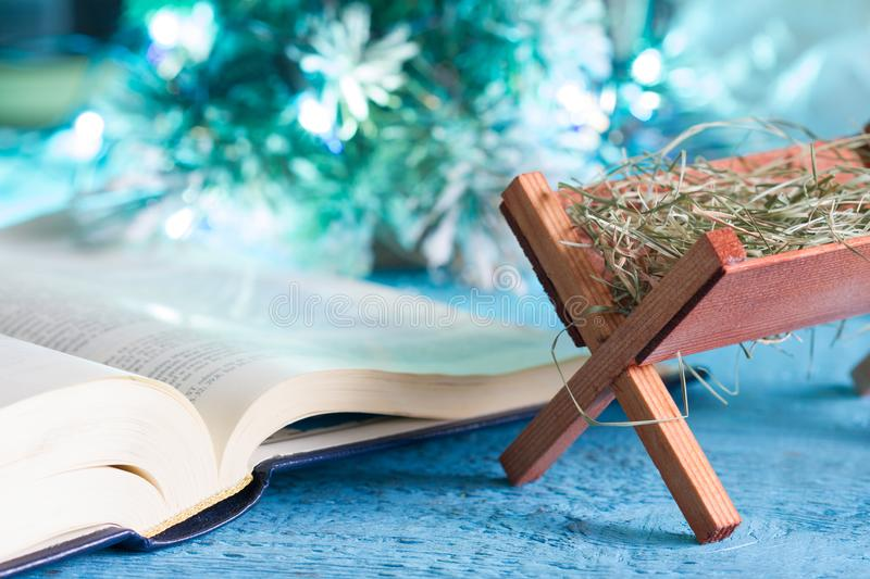Bible manger and native scene abstract christmas background concept stock photos