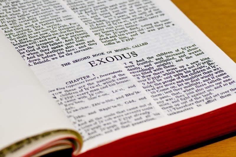 Bible Page - Exodus. Close up of Exodus bible page stock photo