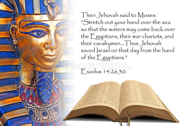 Bible prophecy egypt pharaoh moses red sea yam suph open exodus israel israelites miracles. Concept photo of bible prophecy showing open bible with pharaoh vector illustration