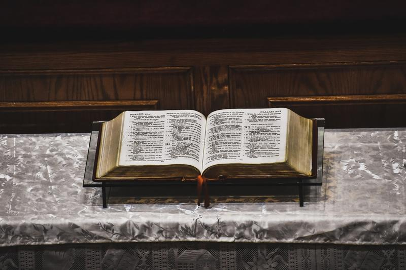 Bible in the pulpit of a church. Harlem, NYC royalty free stock photos