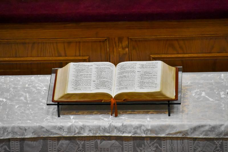 Bible in the pulpit of a church. Harlem, NYC.  stock photo
