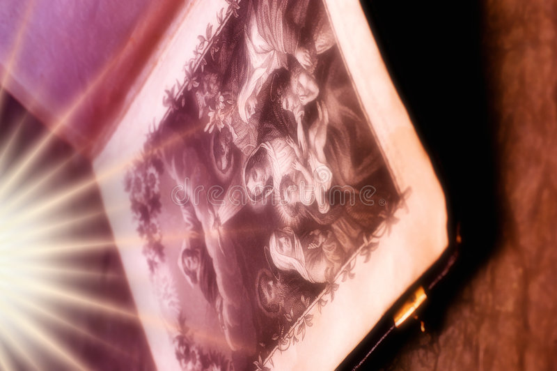 Bible with rays of light royalty free stock images