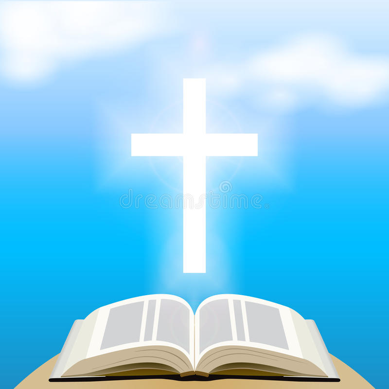 Bible and shining cross over blue sky. stock illustration