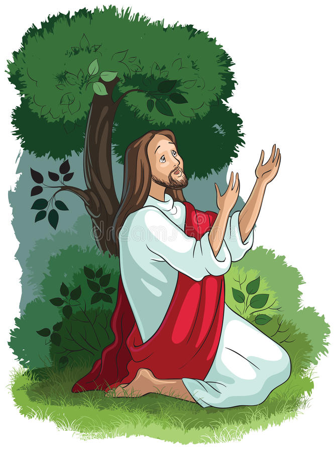 Bible stories of Jesus. The agony in the garden vector illustration