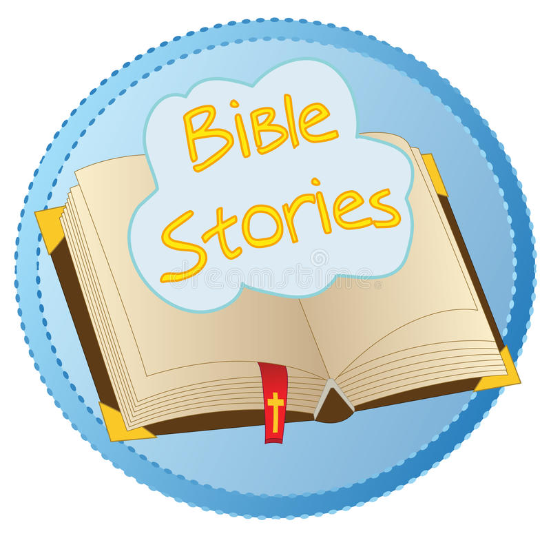 Bible Stories opened book logo. Concept logo of opened Bible book with floating cloud with name `Bible Stories`, everything on a blue badge, isolated on white vector illustration