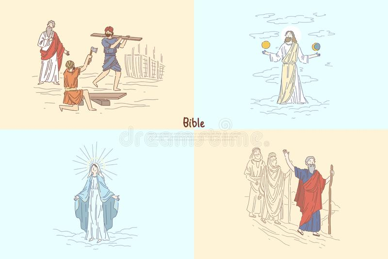 Bible story plots, myth and legends, biblical characters, Noah Ark, God creating world, Moses prophet banner template vector illustration
