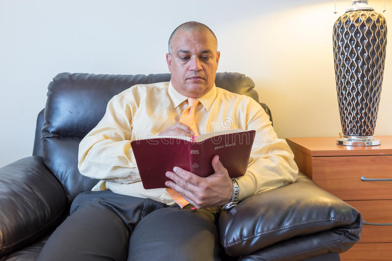 Bible study by a man of God or Pastor stock photography