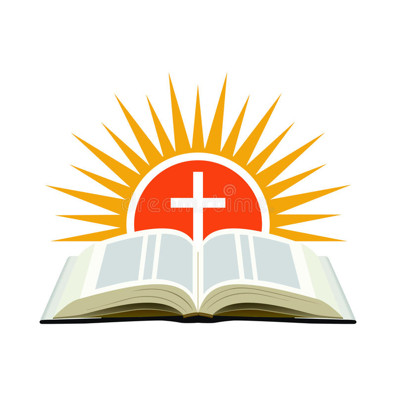 Bible, sunset and cross. Church logo concept. Isolated on white stock illustration