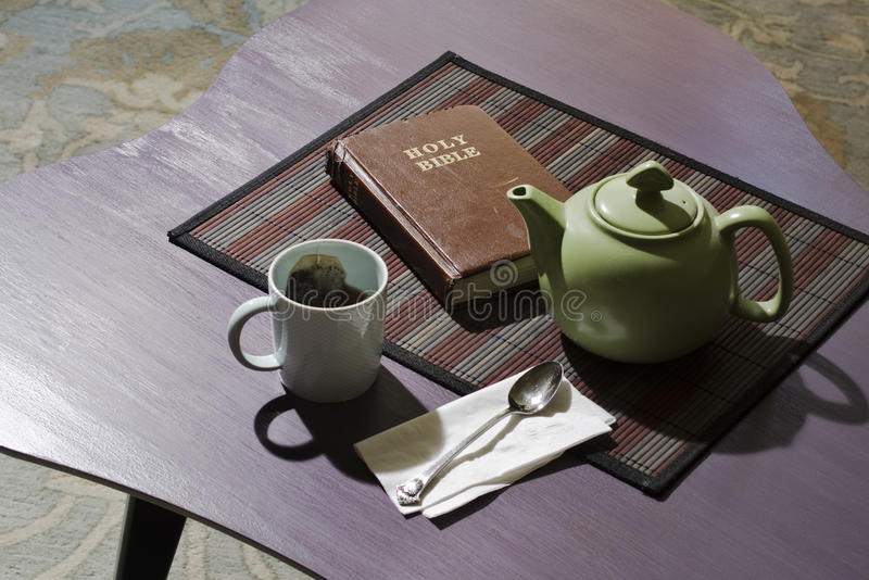 Bible With Teacup And Teapot Stock Images