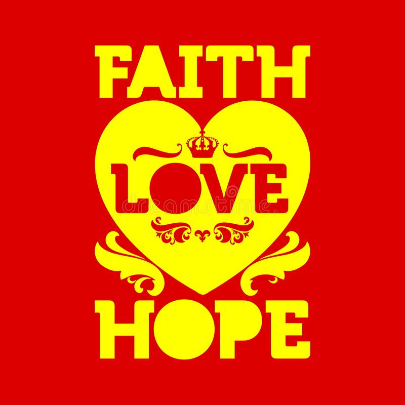 Bible typographic. Faih Hope Love.  royalty free illustration