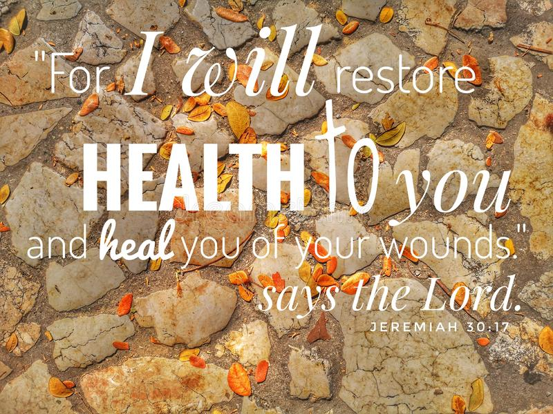 For I Will Restore Health design for Christianity with stones background. Daily Bible verse for Christianity stock photo