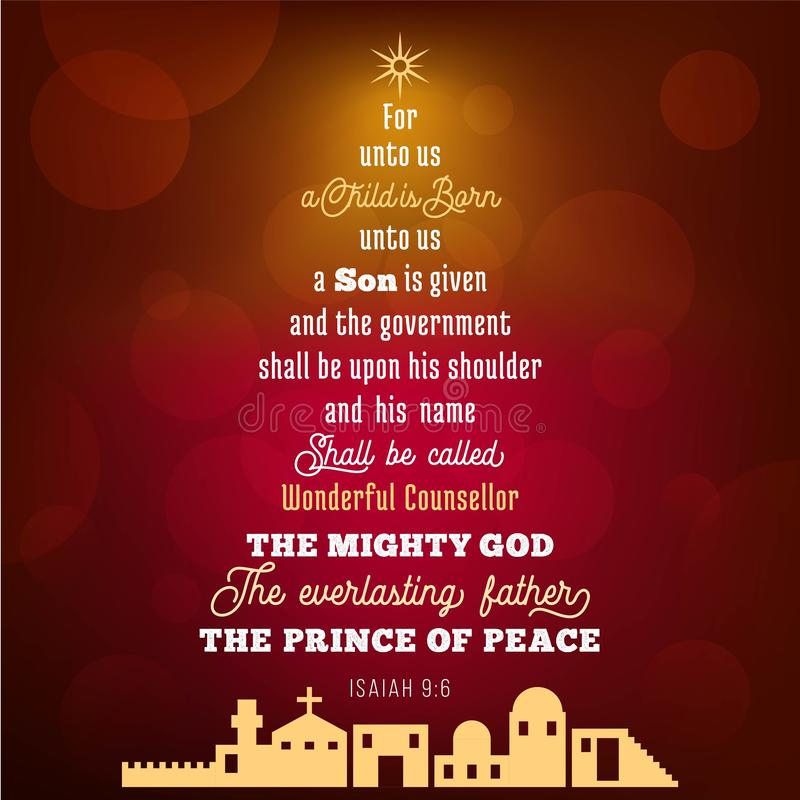 Bible verse from Isaiah 9:6 about jesus christ , a child is born. On bokeh background in Christmas theme, vector illustration vector illustration