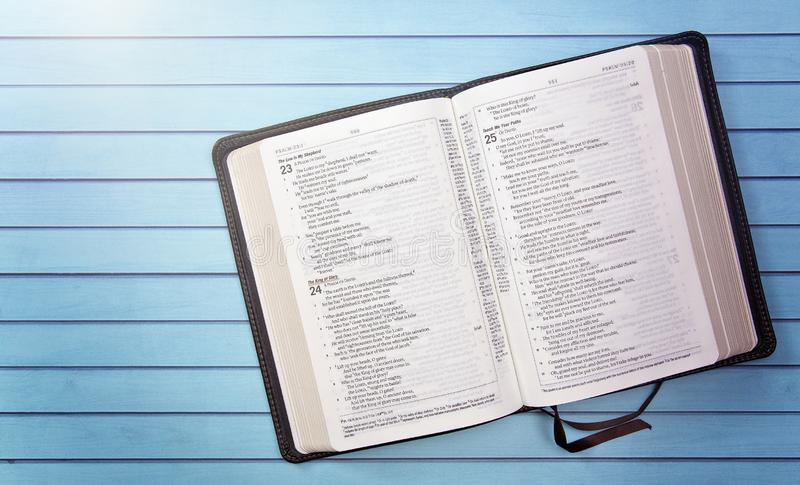 Bible on a Wooden Table Set out for a Personal Bible Study. A Bible on a Wooden Table Set out for a Personal Bible Study stock photos