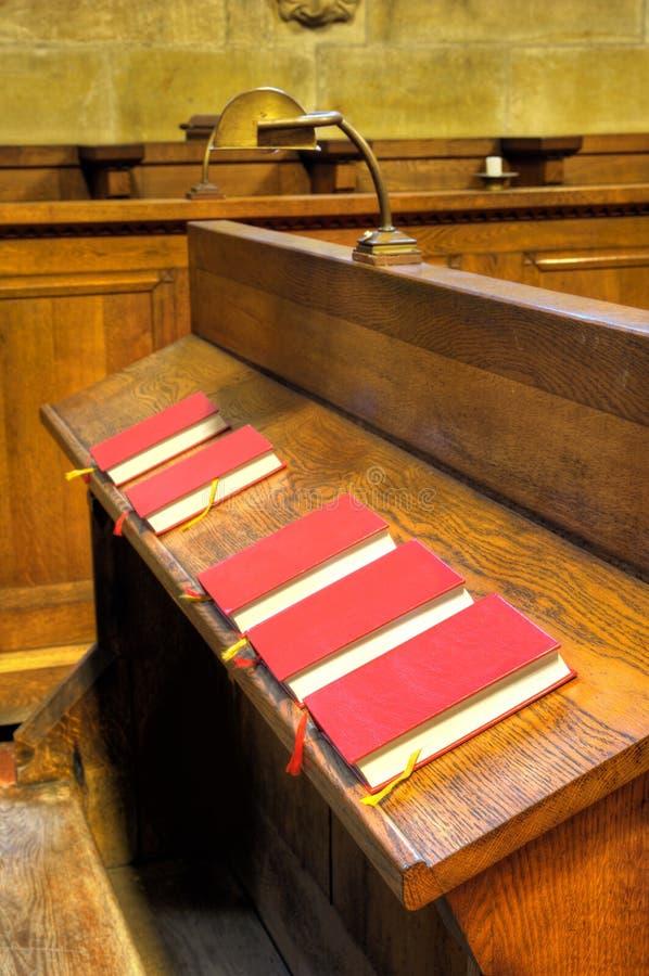 Bibles in choir chapel stock photo
