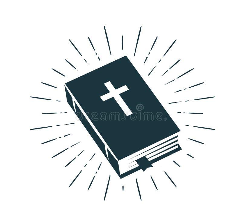 Biblia, święte pisma logo lub etykietka, Wiara, kredo, modlitewna ikona również zwrócić corel ilustracji wektora ilustracji