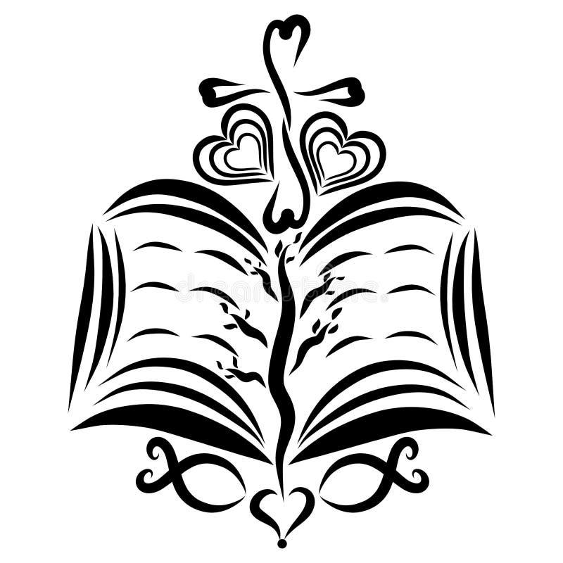 Biblia abierta con el árbol, la cruz, los pescados y el corazón ilustración del vector