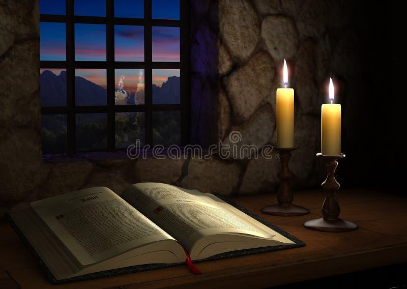Biblia cerca de una ventana ilustración del vector