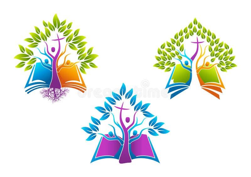 Biblia chrześcijański drzewny logo, książki ikony świętego ducha korzeniowa rodzina, ludzie kościelnego wektorowego symbolu proje ilustracji
