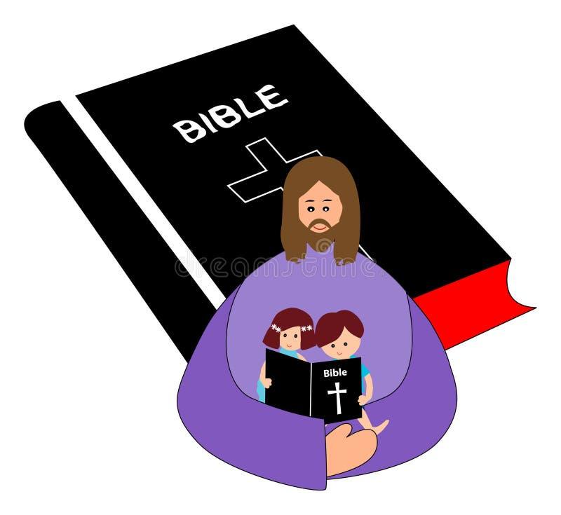 Biblia de la lectura ilustración del vector