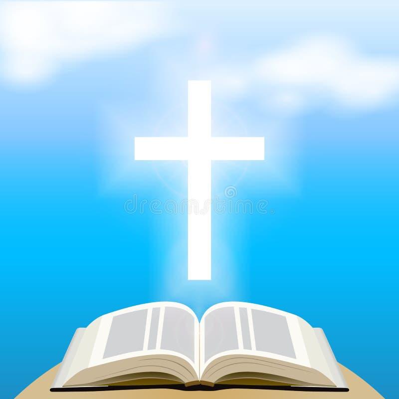 Biblia i jaśnienie krzyżujemy niebieskie niebo ilustracji