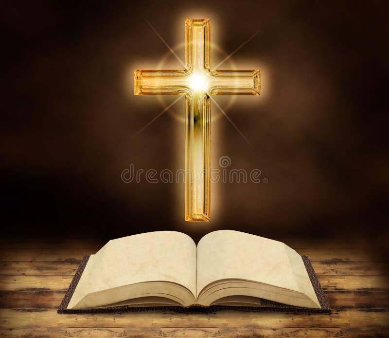 Biblia i olśniewający krucyfiks ilustracji