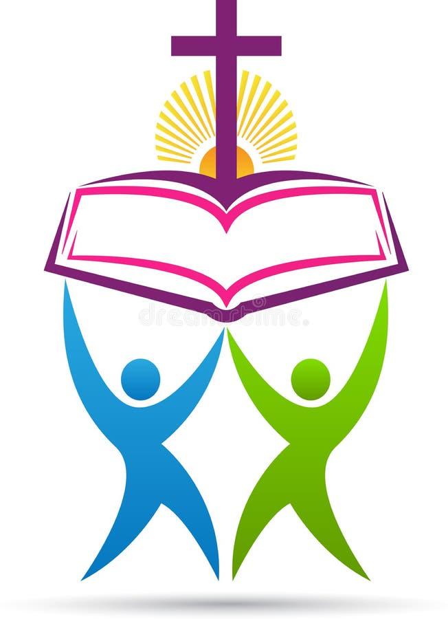 Biblia krzyża ludzie royalty ilustracja