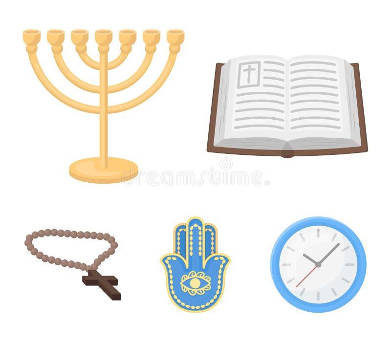 Biblia, menorah, hamsa, cruz ortodoxa Los iconos determinados de la colección de la religión en estilo de la historieta vector el libre illustration