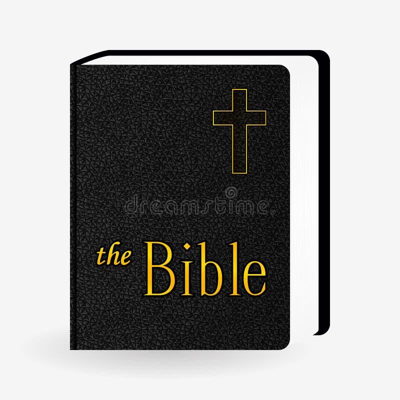 Biblia santa de cuero Pictograma del libro Iconos del vector stock de ilustración