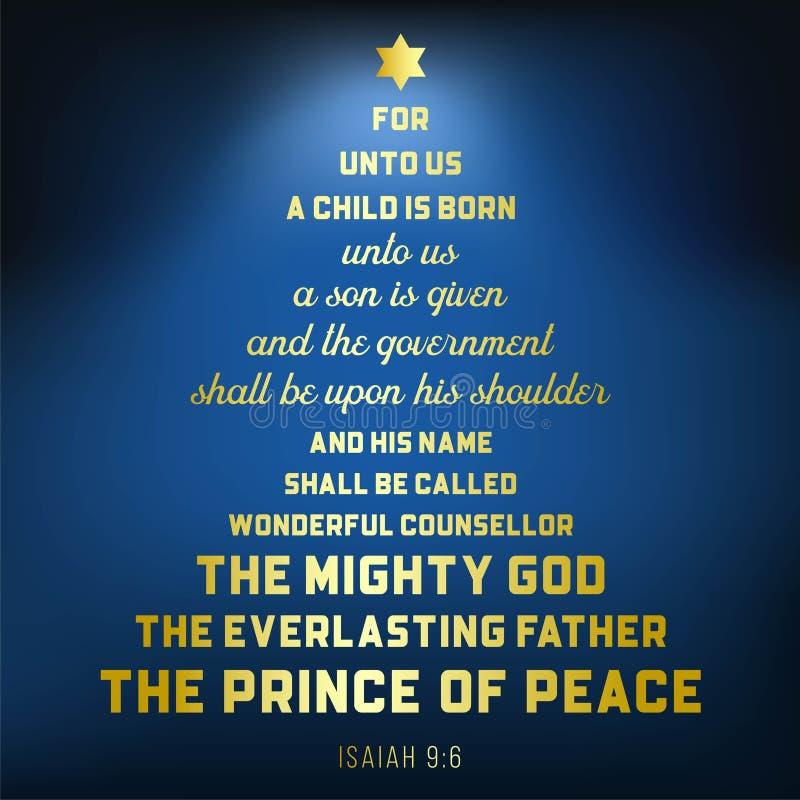 Biblia werset od Isaiah 9:6 o jezus chrystus, dziecko jest urodzony royalty ilustracja