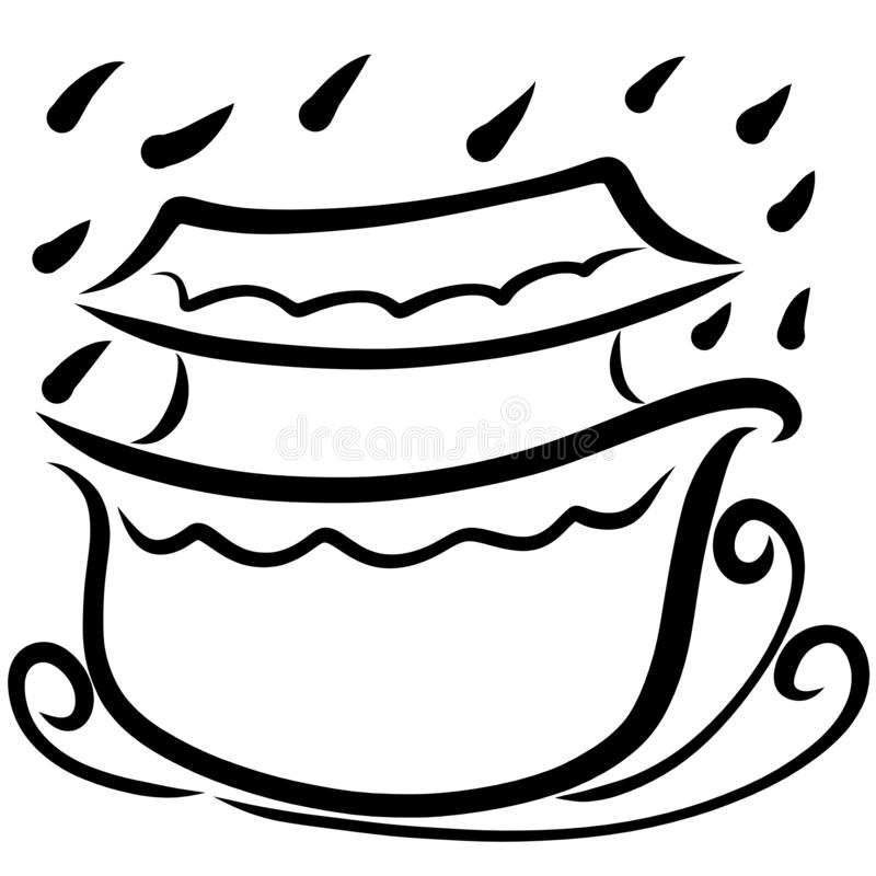 Biblical Ark, waves and raindrops, flood, black pattern.  stock illustration
