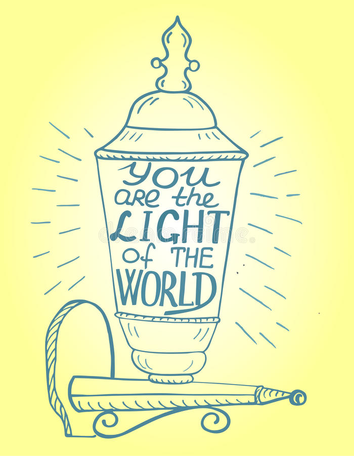 The biblical background is handwritten You light of the world vector illustration