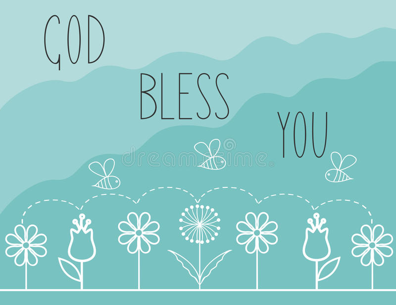 Biblical background with the words God bless you stock illustration