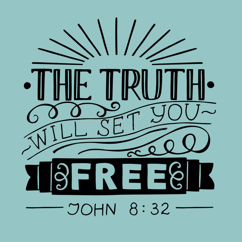 Biblical hand lettering Truth will set you free. Hand lettering Truth will set you free. Biblical background. Christian poster. New Testament. Scripture. Card vector illustration