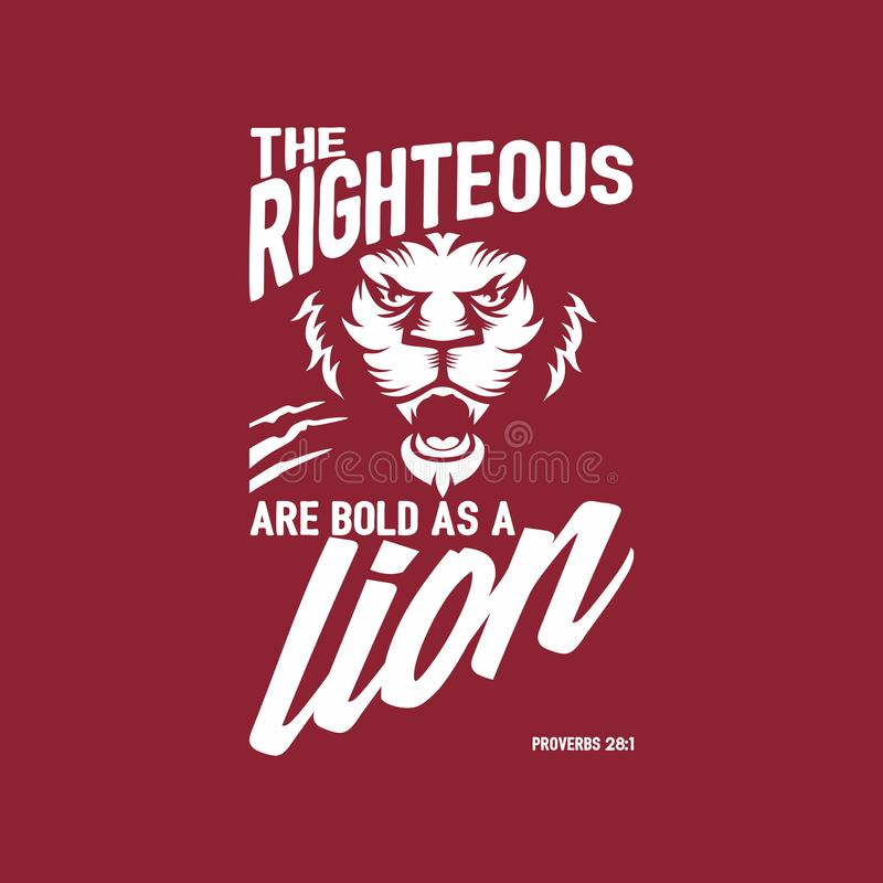 Biblical illustration. Christian lettering. The lion of the tribe of Judah. Revelation 5:5. stock illustration