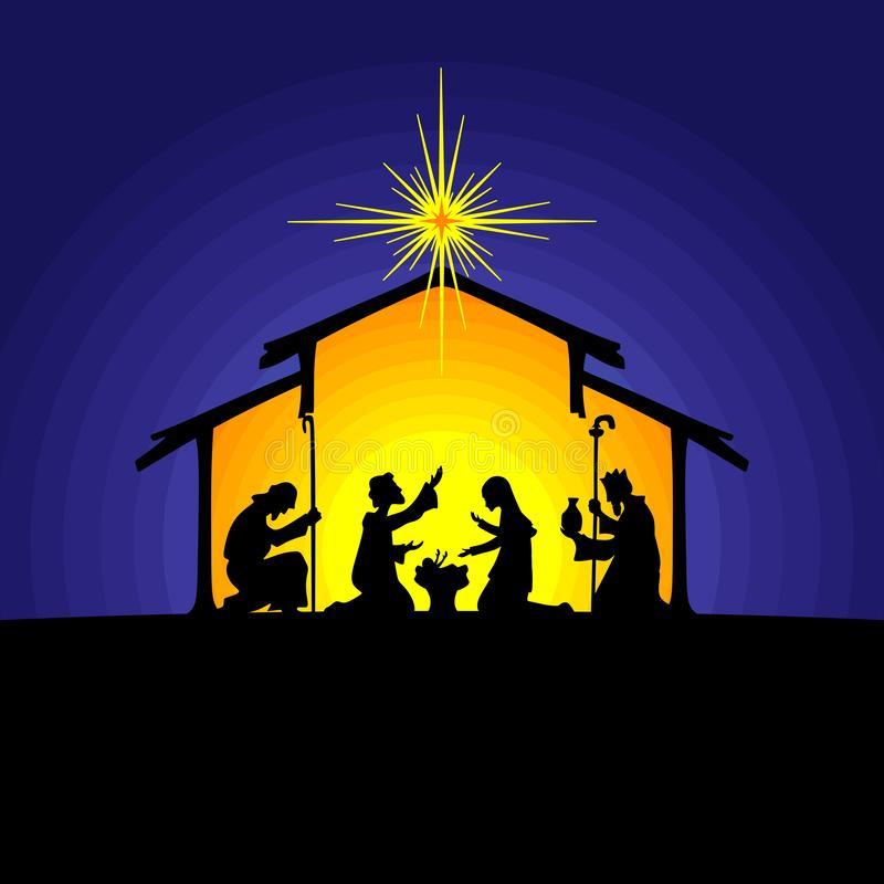 Free Biblical Illustration. Christmas Story. Mary And Joseph With The Baby Jesus. Nativity Scene Near The City Of Bethlehem. Stock Photos - 134632933