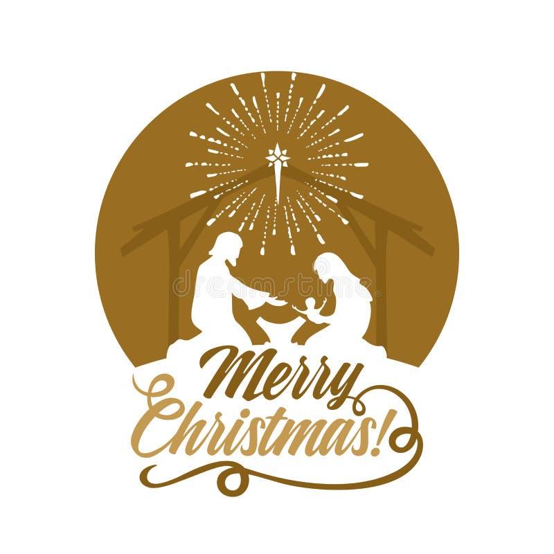 Free Biblical Illustration. Christmas Story. Mary And Joseph With The Baby Jesus. Nativity Scene Near The City Of Bethlehem Stock Photo - 134633290