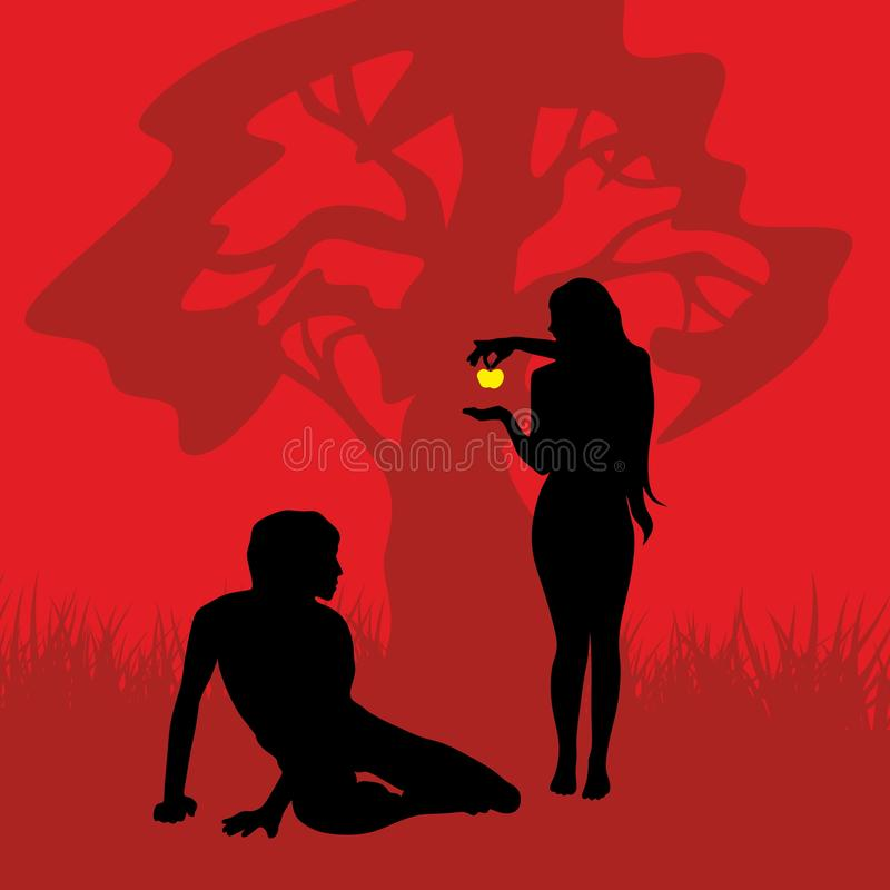 Biblical illustration. Eve offers a forbidden fruit to Adam. vector illustration