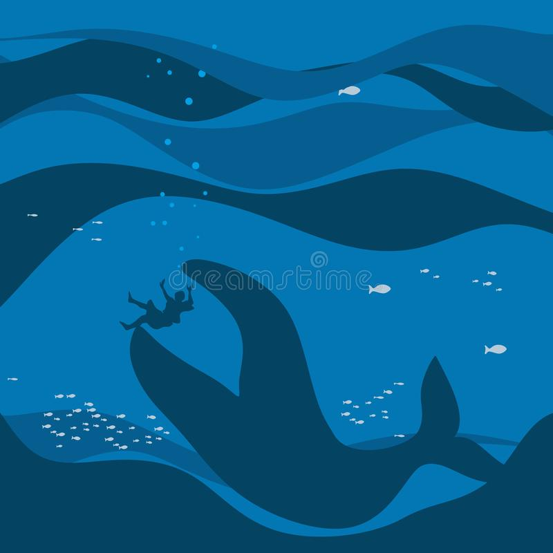 Biblical illustration. Jonah in the sea abyss, the whale swallowed it.  royalty free illustration