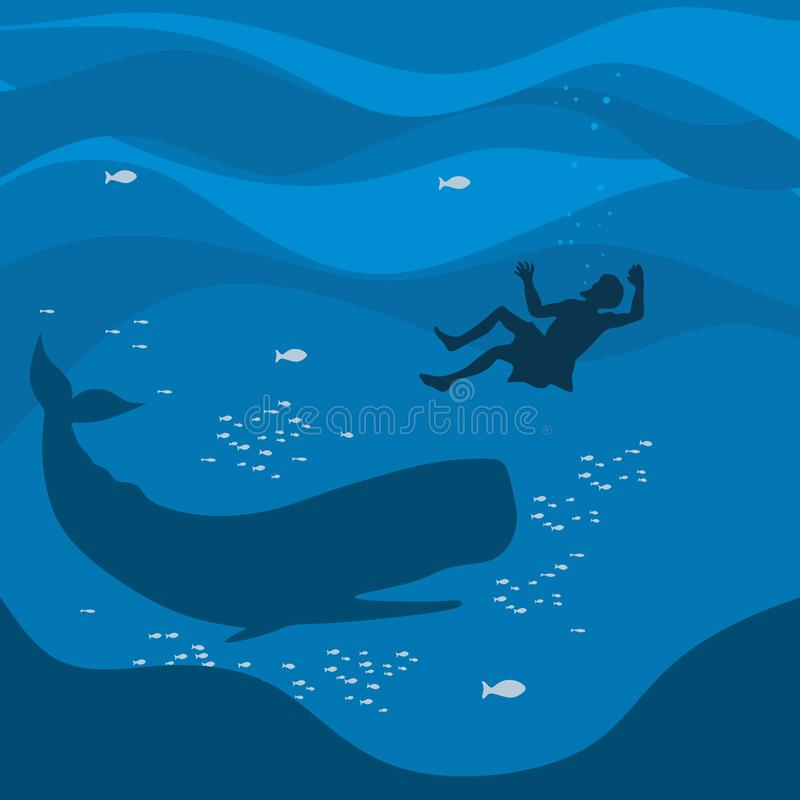 Biblical illustration. Jonah in the sea abyss, the whale swallowed it.  vector illustration