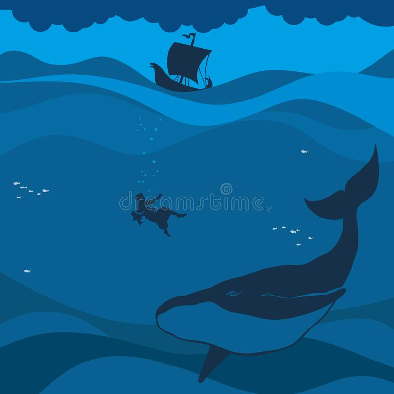 Biblical illustration. Jonah in the sea abyss, the whale swallowed it.  stock illustration