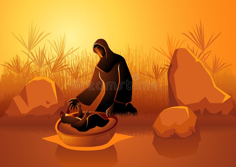 Jochebed put Moses in the Nile. Biblical illustration set,  Jochebed put Moses in the Nile royalty free illustration