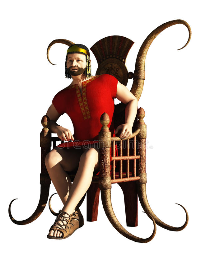 Biblical king. Intended as King Herod but generic enough to server as Darius, Xerxces, David or any fantasy potentate figure royalty free illustration