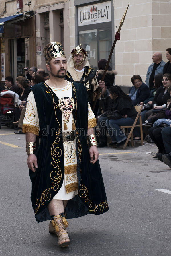 Biblical King. LUQA, MALTA - 10 APR 2009 - Man dressed as Biblical King during the Good Friday procession in the village of Luqa in Malta stock images