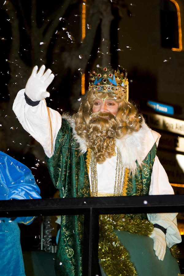 Biblical Magi parade in Spain. BARCELONA - JANUARY 5: Gaspar King at the parade of the Biblical Magi Three Kings, who give toys to the children. Is a traditional royalty free stock photo