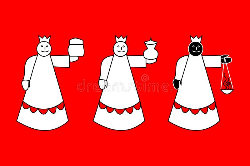 Biblical Magi - three kings on red background royalty free illustration