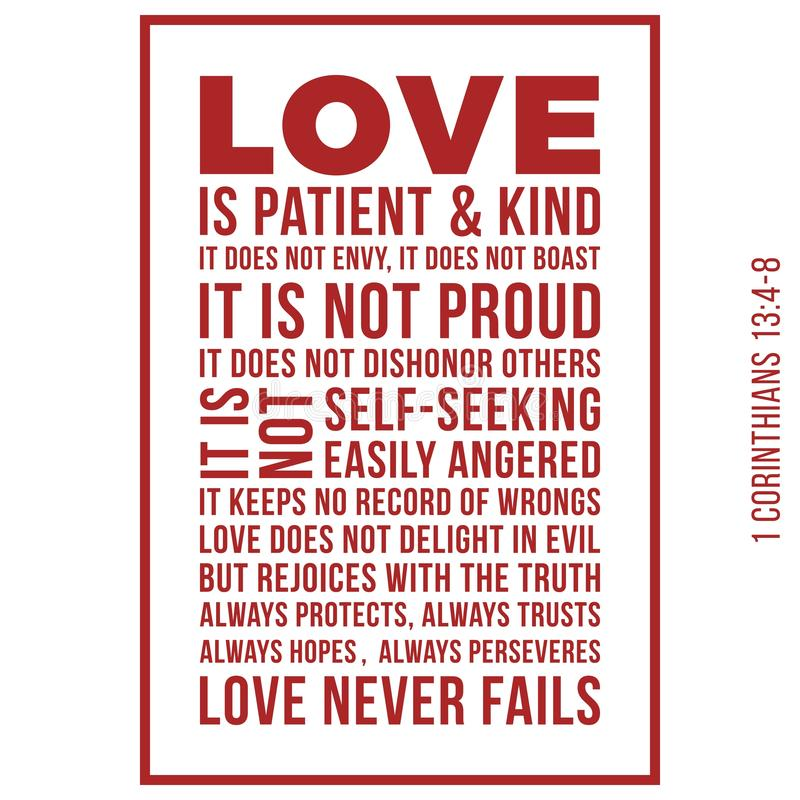 Biblical phrase from 1 corinthians 13:8, love never fails stock illustration