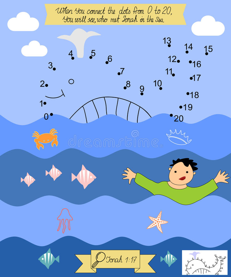 Biblical reference for children to Connect the dots. Jonah The Prophet. stock illustration
